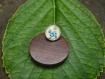 Bague enfant ,( d19), un chat bleu sur un fond vert (par isabelle weber)