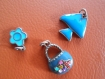 Lot de 3 breloques pendentifs emaillées 5 a 15 mm ton bleus