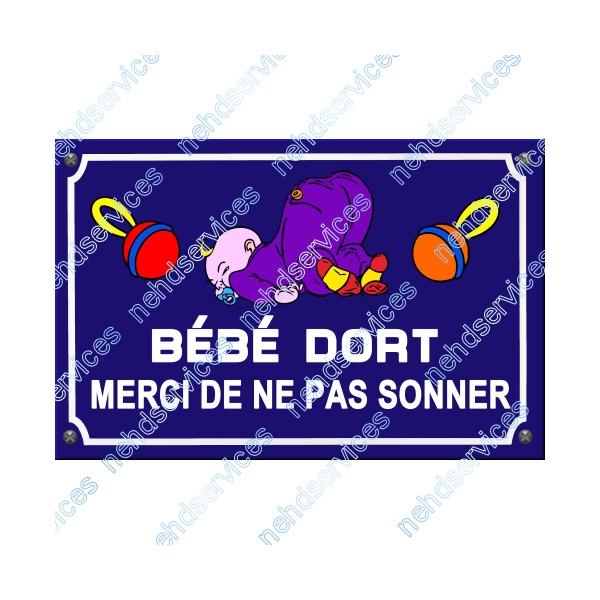 Plaque De Rue Bébé Dort Ne Pas Sonner 3 Accessoires Bebe
