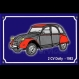 Magnet 2 cv dolly grise rouge