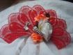 Andalouse ,eventail rouge vif au crochet