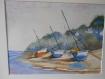 """""""voiliers à marée basse """" tableau à l'aquarelle"""