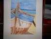 """""""le vieux bateau """" tableau à l'aquarelle"""