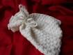 Pochette au crochet en coton blanc, doublée