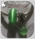 2 charms donut beliere metal argente pierre oeil de chat vert clair 14-8mm *n68