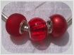3 perles donuts charms rondelles metal argente verre rouge pour serpent *d716