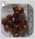 10 perles rondes marron moyenor foncÉ verre lampwork 8-9mm feuille argent *l300