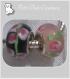 2 perles donuts charms verre lampwork noir rose compatibles serpent *d238