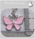 2 pendentifs breloques papillon rose email métal argenté 19x17mm *b80