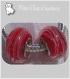 2 perles rondelles charms argentÉ donuts verre lampwork rouge fils blanc *d59