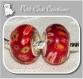 2 charms perles rondelle donuts verre rouge millefiori metal argente 925 *d541