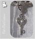 1 charm breloque sur mousqueton clef coeur metal argente strass cristal *v528