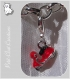 1 charm breloque sur mousqueton scooter rouge metal argente *v527