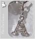 """1 charm lettre """"a"""" avec strass cristal metal argente breloque sur mousqueton*k79"""