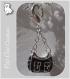 1 charm mousqueton sac de luxe noir double face breloque metal argente *v340