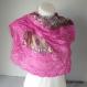 Foulard viscose géométrique et dentelle rose vif - 535