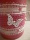 Boite cache pot vase porte crayon en boite en fer (conserve)décorer rose avec des papillon blanc