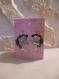 Carte double couple réaliser en iris folding sur fond rose avec des coeurs