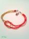 Bracelet croisé perles de rocaille rouge et doré