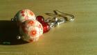 Boucles d'oreille fleurs rouges porcelaine
