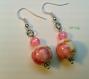 Boucles d'oreilles fleurs rose en porcelaine