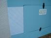 Cadre photo couleur bleu et papier rayure