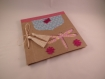 "Album photos "" libellule"" en papier maché avec noeud en raphia"