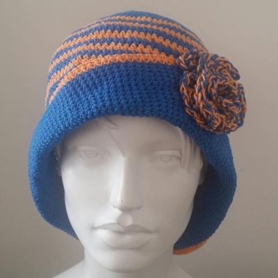 Chapeau bleu et orange avec une fleur en coton saison printemps été taille  adulte adolescent 5022b701f0a