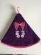 Essuie main macaron rond en éponge prune et biais violet