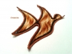 Applique à coudre oiseau dégradé beige à marron ocre