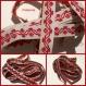 Ruban broderie mécanique vintage rouge fond blanc / mètre