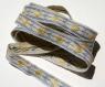 Ruban vintage brodé fils dmc bleu & jaune largeur 1,3 cm/ mètre