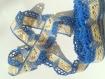Dentelle vintage, au crochet de qualité ancienne, coton écru & bleu / mètre