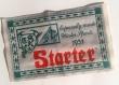 Applique à coudre 16,5 x 10,2 cm inscription starter rouge , déco verte sur fond écru