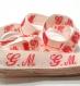 Ruban de marquage linge brodées initiales monogramme g m rouge sur coton blanc