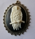 Cabochon argente oval 30x40 camee hibou