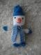 Bonhomme de neige bleu en laine decoration de noel