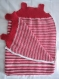 Gigoteuse fille de couleur rose laine bergère de france avec ruban en satin blanc