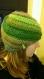 Joli bonnet en spirale bleu vert