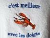 Bavoir adulte tissus eponge blanc le homard