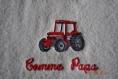 Bavoir enfant tracteur comme papa personnalise biais rouge