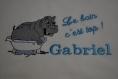 Cape de bain enfant hippo tissus eponge 480gr 1mx1m capuche doublee avec prenom brode