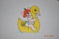 ensemble sortie de bain bebe tissus eponge 1mx1m capuche doublee et bavoir souris canard avec prenom brode