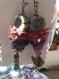 Boucles d'oreilles esprit nature, oiseau bronze et soie de sari