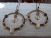 Créoles rétro bronze et ivoire 40 mm