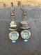 Boucles d'oreilles romantiques, fleur bleue, rustique