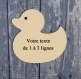 Plaque de porte, canard avec texte, 9 couleurs disponibles