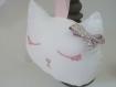 Décoration chambre bébé -tete de chat - blanc/liberty ,broderie anglaise