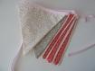Guirlande de 9 fanions - tissu rose saki/blanc petit pois/ taupe étoilé/rose poudré