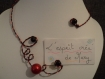 Soldes collier et bague en fil aluminium rouge